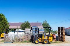 Beekeeping Equipment. BUFFALO, WY - AUGUST 22: Palettes and machinery used in beekeeping in Buffalo, WY on August 22, 2015 stock photos
