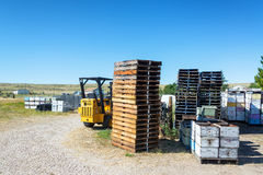 Beekeeping Equipment. BUFFALO, WY - AUGUST 22: Palettes and machinery used in beekeeping in Buffalo, WY on August 22, 2015 stock photo