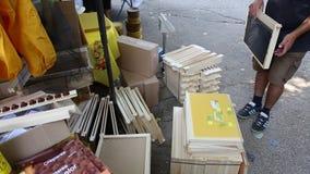 Beekeeping equipment - wood frames stock video