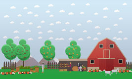 Beekeeping and farming concept vector illustration in flat style Royalty Free Stock Photos