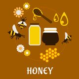 Beekeeping and fresh Honey flat concept Stock Photo