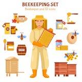 Beekeeping Honey Illustration Icon Set Stock Image