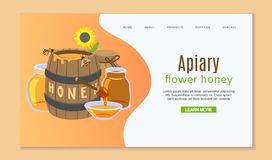 Beekeeping and honey web template with honey barrel, sun flower and bees. Layout landing page template with honeycombs. Beekeeping and honey web template with vector illustration