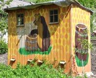 Originally painted beekeeping house stock photo