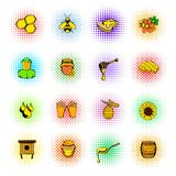 Beekeeping icons set, comics style vector illustration