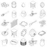 Beekeeping icons set, isometric 3d style Stock Photography