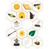 Beekeeping ikony ustawiać Obrazy Royalty Free