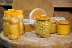 Products of livelihoods of bees. Beeswax, honeycomb, honey, pollen, propolis. Beekeeping. Products of livelihoods of bees. Beeswax, honeycomb, honey, pollen Stock Photos