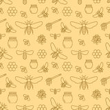 Beekeeping seamless pattern, apiculture vector illustration. Apiary thin line icons bee, beehive, honeycomb, barrel vector illustration