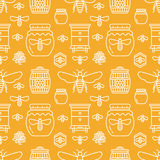 Beekeeping seamless pattern orange color, apiculture vector illustration. Apiary thin line icons bee, beehive, honeycomb stock illustration