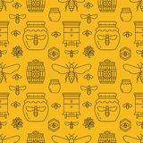Beekeeping seamless pattern yellow color, apiculture vector illustration. Apiary thin line icons bee, beehive, honeycomb Stock Images