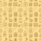 Beekeeping seamless pattern yellow color, apiculture vector illustration. Apiary thin line icons - bee, beehives Stock Photo