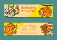 Free Beekeeping Set Of Banners, Apiary Vector Illustration. Beekeeping Workshop And Apiculture Product. Honeycomb, Honey From Royalty Free Stock Image - 144311256