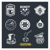 beekeeping Set rocznik miodowe etykietki ilustracji