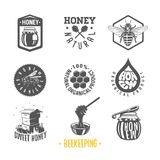Beekeeping. Set of vintage honey labels. royalty free illustration