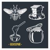 Beekeeping. Set of vintage honey labels. vector illustration