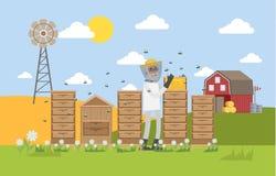Beekepeer anseende i bikupa och samlahonung stock illustrationer
