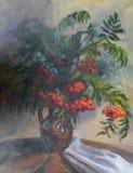 Beeld` Berg Ash Bouquet ` Canvas, olie Stock Afbeelding
