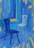 Beeld` Blauwe Stoelen ` Canvas, olie Stock Foto