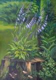 Beeld ` die een Gastheer ` tot bloei komen Canvas, olie Stock Afbeeldingen