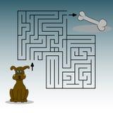 Beeld die een hond, een been en een labinet afschilderen Hulp om de hond te vinden de manier Vector grafiek De tekening van de ha stock illustratie