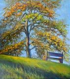 Beeld` Eenzame Bank ` Canvas, olie Royalty-vrije Stock Foto