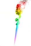 Beeld gekleurde rook op witte achtergrond stock foto's