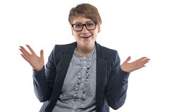 Beeld gelukkige ronde vrouw met open handen Royalty-vrije Stock Afbeelding