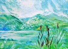 Beeld, het Schilderen Landschap royalty-vrije illustratie