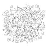 Beeld met krabbelbloemen royalty-vrije illustratie