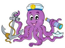 Beeld met octopuszeeman 1 Stock Afbeelding