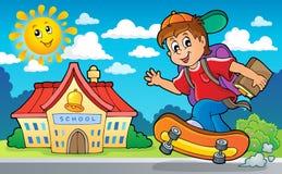 Beeld met thema 2 van de schooljongen Stock Foto's