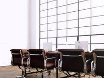 Beeld moderne vergaderzaal met panoramische vensters Generics meubilair van het computers het generische ontwerp in tijdgenoot Royalty-vrije Stock Afbeeldingen