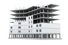 Beeld nieuwe gebouwen afzonderlijk op een witte achtergrond 3D rende Royalty-vrije Stock Afbeelding