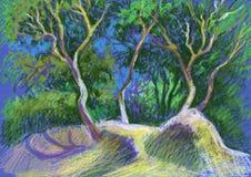 Beeld ` op Duinen ` Document, pastelkleur Stock Afbeelding