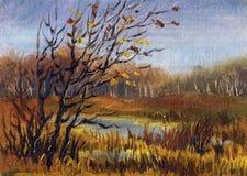 Beeld` Recente Daling ` Canvas, olie Royalty-vrije Stock Foto