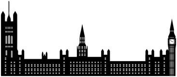 Beeld van beeldverhaalhuizen van het Parlement en Big Ben-silhouet Vector illustratie die op witte achtergrond wordt geïsoleerdd Stock Fotografie