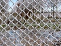 Beeld van bevroren prikkeldraad in de winter royalty-vrije stock foto