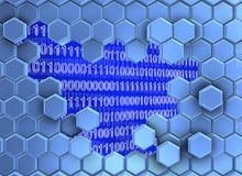 Beeld van blauwachtige die zeshoekenmuur door de digitale era wordt gebroken royalty-vrije illustratie