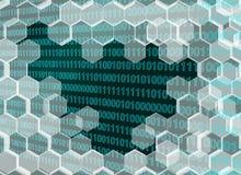 Beeld van blauwachtige transparante die zeshoekenmuur door de digitale era wordt gebroken vector illustratie