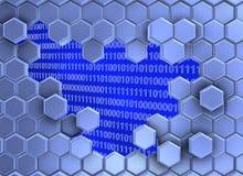 Beeld van blauwe die zeshoeken door de digitale era worden gebroken vector illustratie