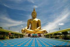 Beeld van Boedha, Wat muang, Angthong, Thailand Royalty-vrije Stock Afbeeldingen