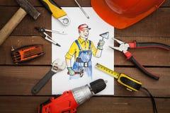 Beeld van bouwer met hulpmiddelen Royalty-vrije Stock Foto's