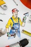 Beeld van bouwer met hulpmiddelen Stock Foto's