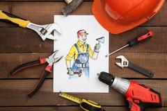 Beeld van bouwer met hulpmiddelen Stock Fotografie