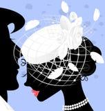 beeld van dame in wit-sluierhoed Royalty-vrije Stock Afbeeldingen