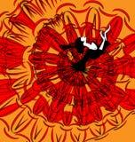 Beeld van danser in zwart-rood Stock Afbeeldingen