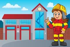 Beeld 3 van de brandbestrijdersvrouw vector illustratie