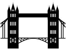 Beeld van de brugsilhouet van de beeldverhaaltoren Vector illustratie op witte achtergrond Royalty-vrije Stock Afbeelding