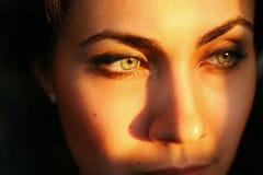 Beeld van de dichte omhooggaande ogen van het vrouwen` s gezicht en brows over donkere backgr royalty-vrije stock afbeelding